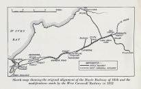 Sketch map showing original alignment of Hayle Railway of 1838 and modifications made by West Cornwall Railway in 1852